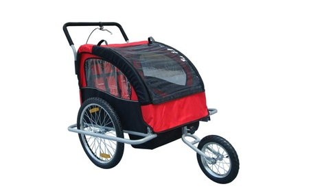 2-in-1 Double Child Baby Bike Trailer and Stroller - Red a65c21a2-ede9-46d0-a75a-db8e6ba93acb