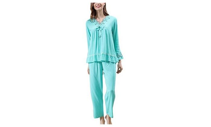 Women's Sleepwear Long Sleeve Pajama Set with Pj Pants