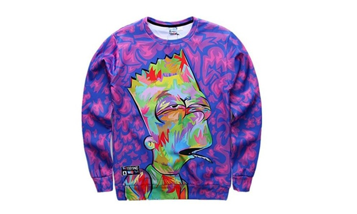 FaPlus Autumn Fashion Hoodies Cartoon 3D Print Long Sleeve T-Shirt M - Purple / Medium