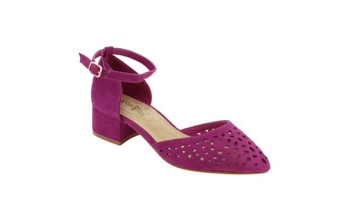 Beston Shoes: Beston FH17 Women's Ankle Strap Cut Out D'Orsay Dress Pumps