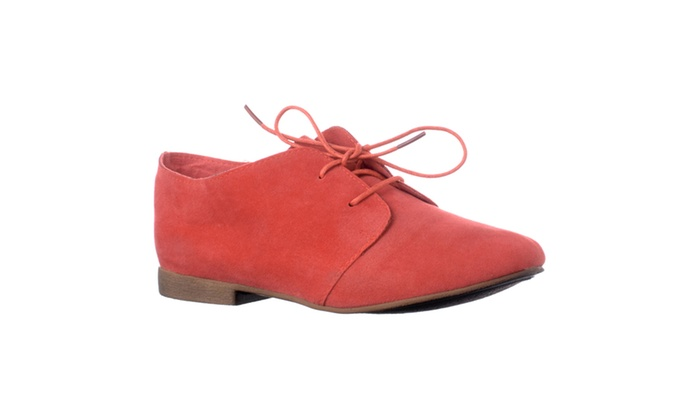 Riverberry 'Sandy-31' Microsuede Lace Up Oxford Flats, Rose Red