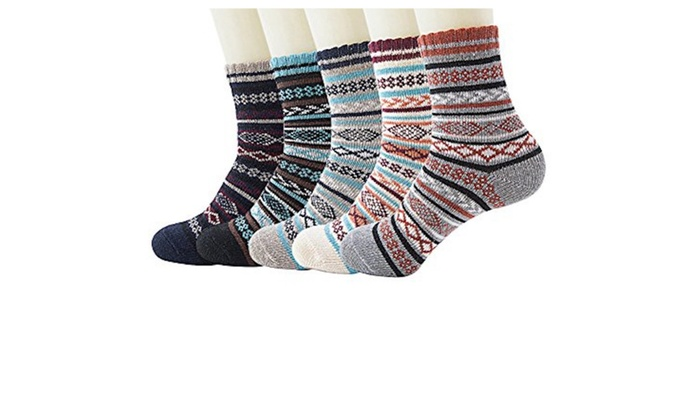 Womens Thick Knit Warm Casual Wool Crew Winter Socks.