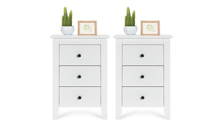 1/2PCS Nightstand End Beside Table Modern Storage Bedroom Furniture White