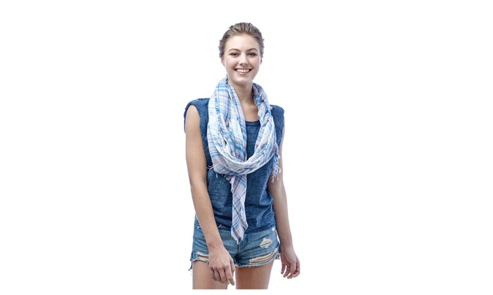 Women's Floral and Plaid Pattern Spring Summer Cotton Scarf