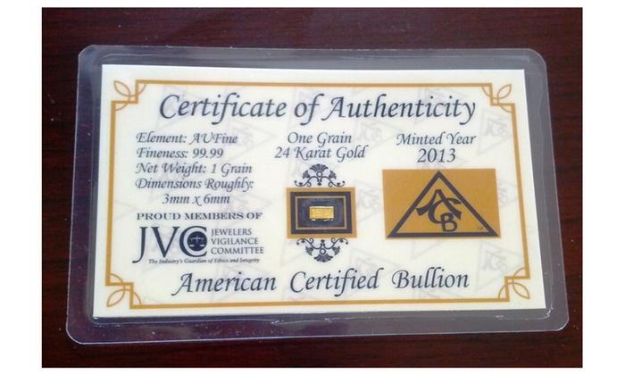 Acb Gold 1 Grain 24k 99 Fine Bullion