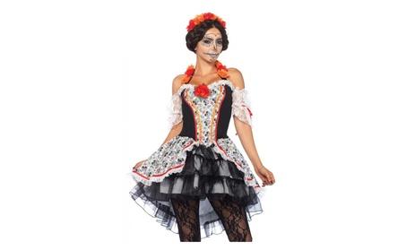 Leg Avenue Women's Lovely Calavera Costume Multi f041ca8c-d277-4866-aafe-940c7e7c1119