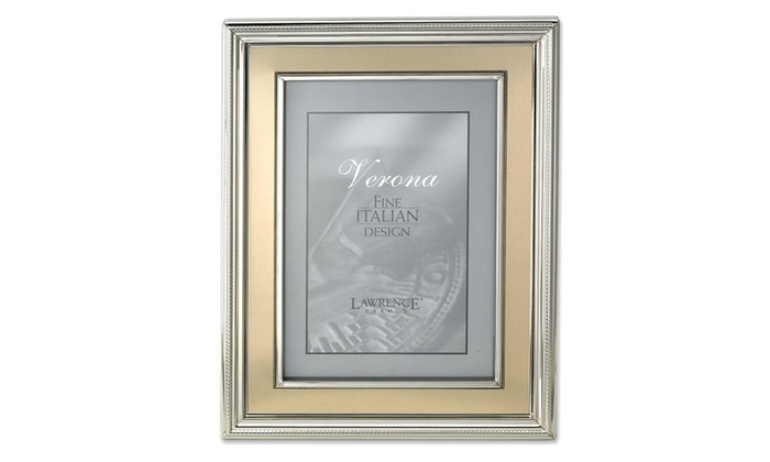 4x6 silver plated metal picture frame brushed gold inner panel groupon. Black Bedroom Furniture Sets. Home Design Ideas