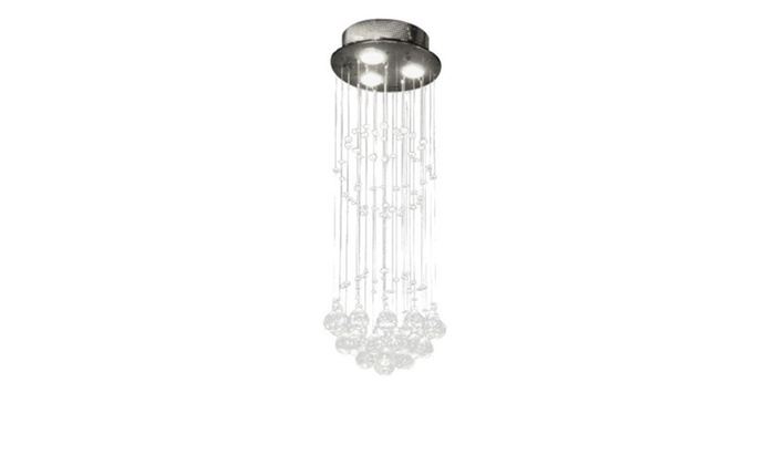 "H31 x W10"" Rain Drop Modern Contemporary Chandelier w/Crystal Balls"
