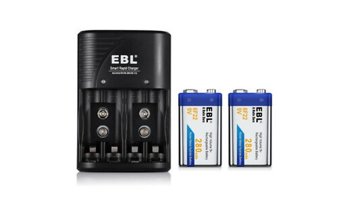 EBL 9V Li-ion Battery Charger for 9 Volt NI-CD NI-MH 6F22 Rechargeable Battery