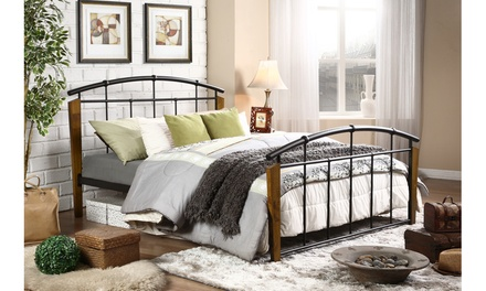Optimus Dark Bronze Queen Size Metal and Wood Platform Bed