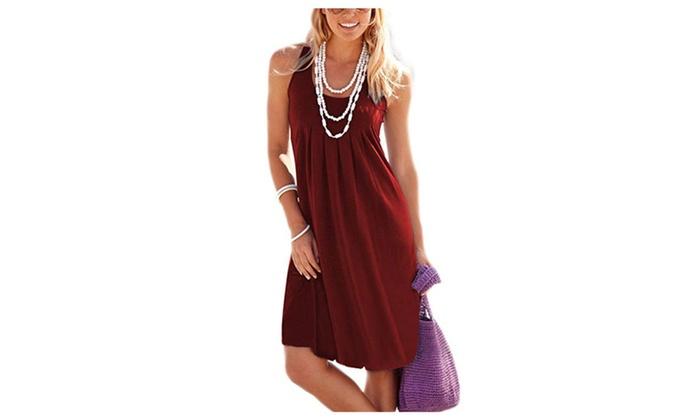 4ddd2d030d81 Women's Casual Summer Tank Long Knee Length Pleated Sun Dresses ...