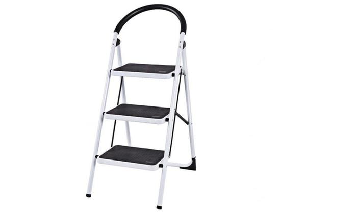 Pleasing 3 Step Ladder Folding Stool Heavy Duty 330Lbs Capacity Industrial Lightweight Evergreenethics Interior Chair Design Evergreenethicsorg