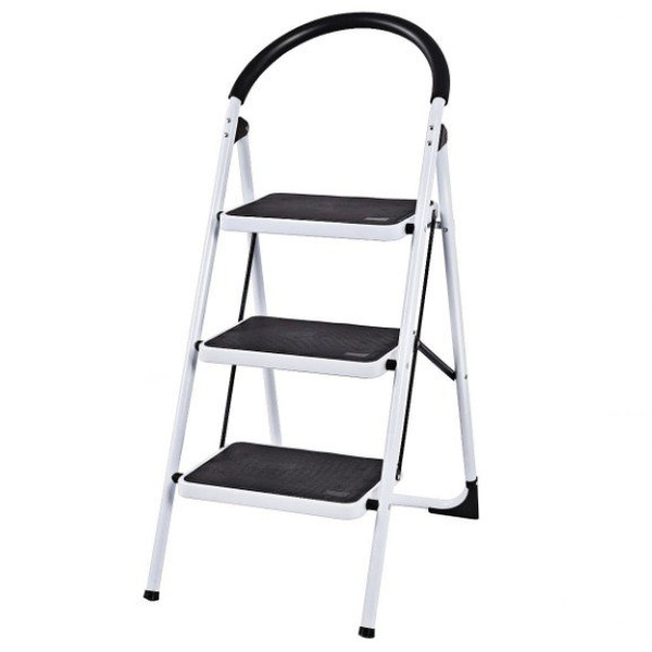 3 Step Ladder Folding Stool Heavy Duty 330Lbs Capacity Industrial  Lightweight
