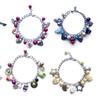 3 or 6 Pack Crystal Glass & Charm Bracelets (One Size)