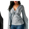 Women Casual V Neck Flare Sleeve Twist Front Blouse Tops