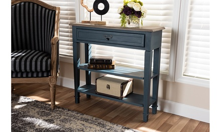 Dauphine French Provincial Blue Spruce Fiinished Wood Accent Console Table