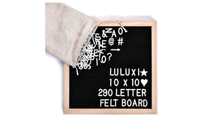 10x10 black felt letter board set with 290 plastic