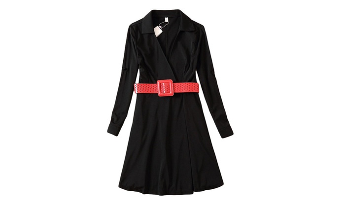 Women's Belted Cuffs Polyester Fashion V Neck Dress