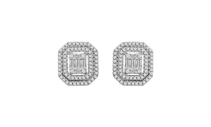 1 2 Cttw Round Baguette Diamond Las Cer Stud Earrings 14k White Gold
