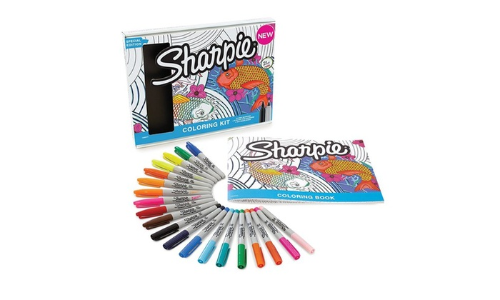 20 Sharpie Permanent Markers With Aquatic Themed Adult Coloring Book