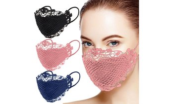 3pc Delicate Lace Applique Washable and Reusable Mouth Face Mask