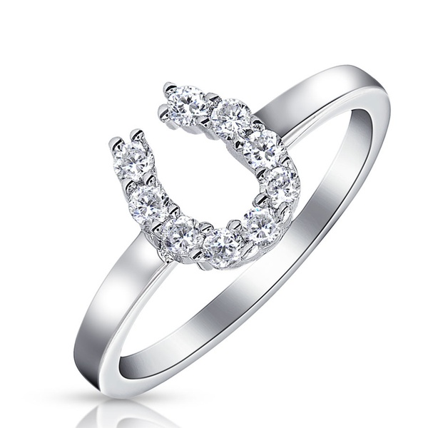 Clear Cubic Zirconia Encrusted Horseshoe Ring Rhodium Plated Sterling Silver