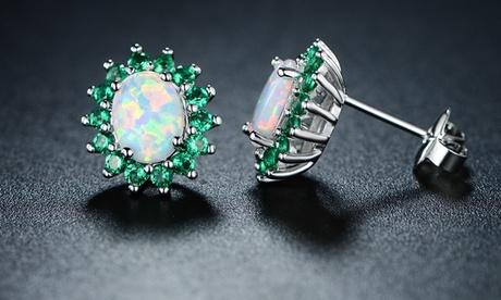 Emerald & Fire Opal Flower Stud Earrings 2c3b1a69-b5b6-4e46-979a-e8f7f8161f0b
