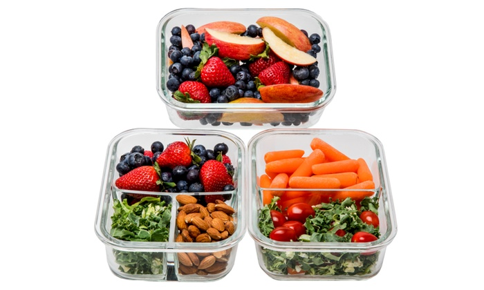 9ff37a10aaf8 1 & 2 & 3 Compartment Glass Meal Prep Containers - 3 Pack, 35 Oz ...