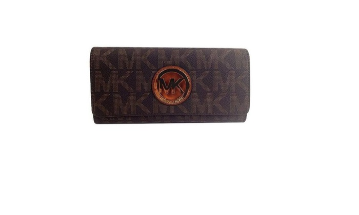 ec54e7ee461f0b ... order michael kors signature pvc fulton flap wallet in brown 19ed6 33471