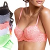 (6-Pack) Women's Bras Full Floral Detail - TBIS