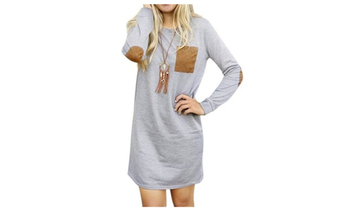 Women's Loose O Neck Long Sleeve Elbow Patch Pollover T-Shirt Dress