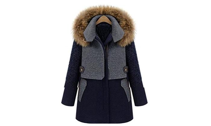 Winter Down Parka Women Wool L...