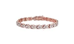 Rose Gold Tone 1.00 Carat Diamond Miracle Set X Tennis Bracelet