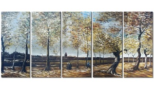 Handpainted Painting - Van Gogh Poplars Near Nuenen Painting 60x28in