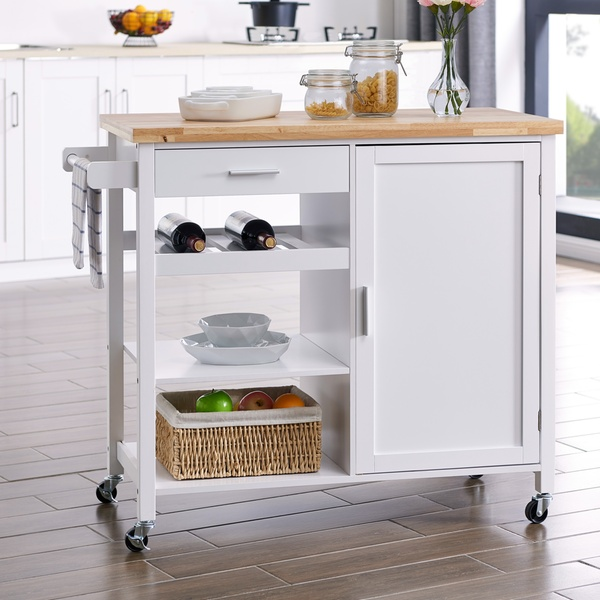 Belleze Sonoma Rolling Kitchen Island Portable Kitchen Trolley Cart with  Wheels