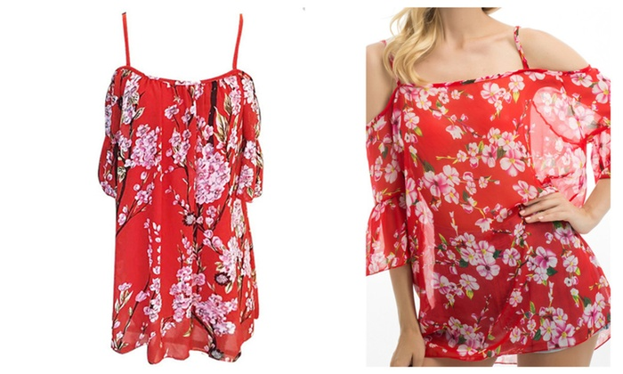 Sexy Red Flower Womens Cover-up