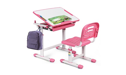 Height Adjustable Children's Desk Chair Set Multifunctional Study Drawing