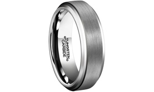 Men's Tungsten Carbide Comfort Fit Engagement Ring with Beveled Edges