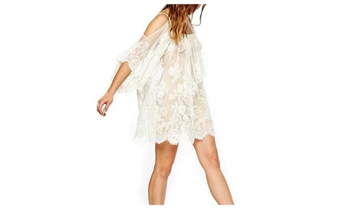 ac67c0edd2 Boho Open Shoulder Beach Cover-up Lace Crochet Mini Dress | Groupon