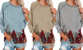 Womens Fashion Funny Printed Long Sleeve Crewneck Holiday Pullover Tunic Tops