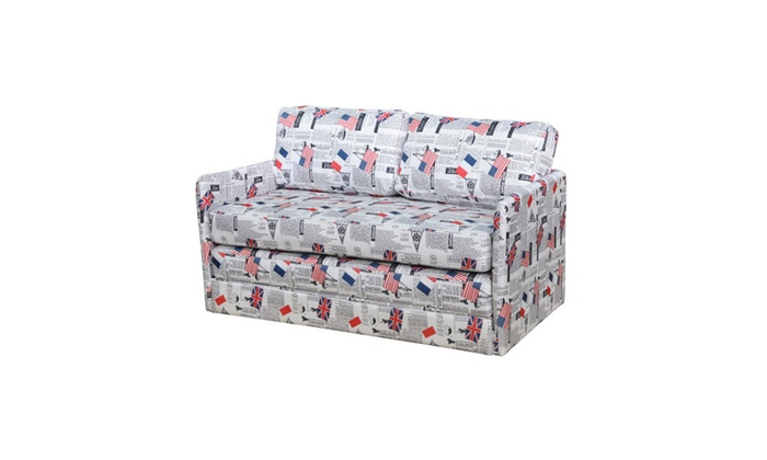 Kathy Reversible 5.1 Inch Foam Print Fabric Loveseat And Sofa Bed