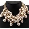 Multilayer Chain Imitation Pearl Rhinestones Bib Collar Necklaces