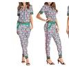 Women Short Sleeve Geometric Print Jacket and Long Pants 2 Pcs Outwear