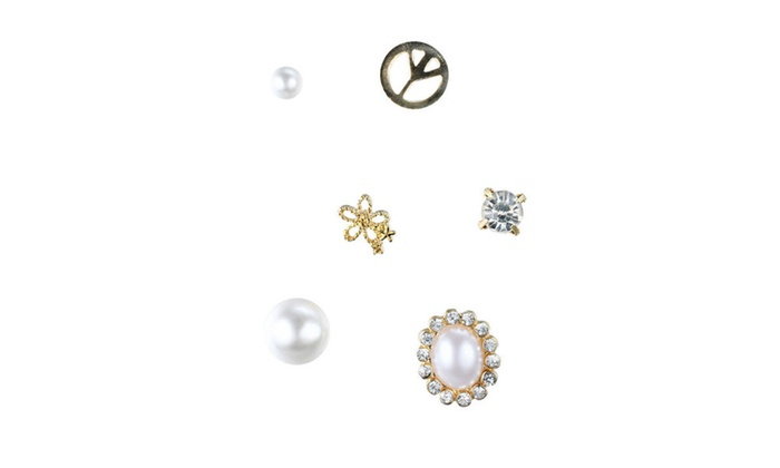 f999917e4 Peace Rhinestone & Pearl - Assorted Stud Earrings Set, By JADA Collections  | Groupon