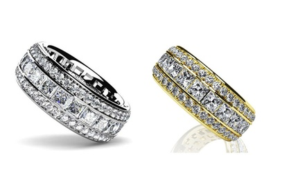 2.90-3.28 ct Three Row Princess and Round Cut Diamond Anniversary Eternity Band Ring Set on 14K White, Yellow Gold