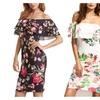 Flounce Layered Neckline Flower Print Dress