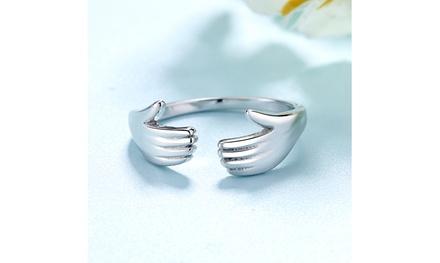 Sterling Silver Hugging Hands Adjustable Ring
