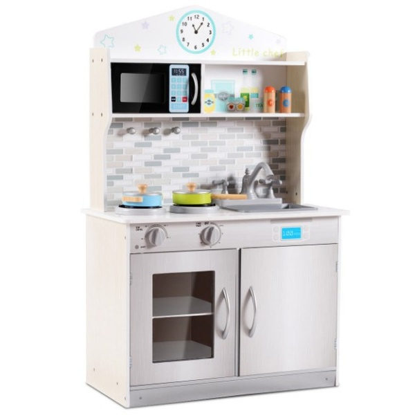 Wooden Pretend Cooking Playset Kitchen Toys Cookware Play Set Kids Toddler