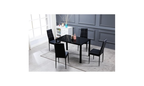 5 Piece Dining Table Set,4 Chairs, Glass Table Breakfast Furniture