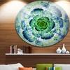 Large Blue Mandala Fractal Flower' Large Floral Metal Circle Wall Art